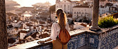 Young women exploring streets of southern Iberic european city
