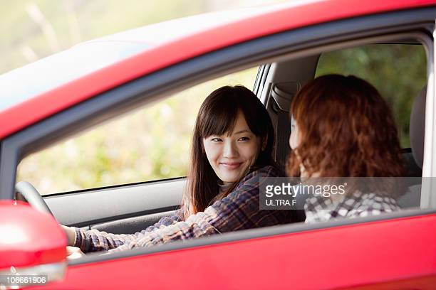 Young women goes drive in Hakone.