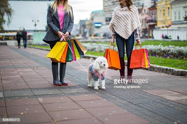 Young women going shopping with dog