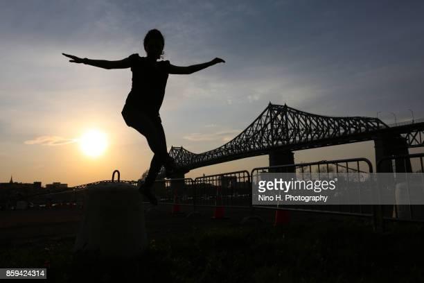 Young women having fun at sunset