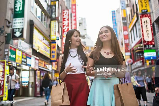 Young women having fun in Tokyo