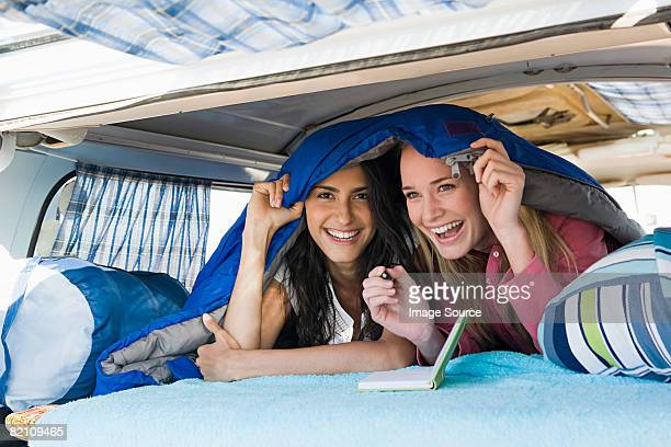 Young women in a camper van