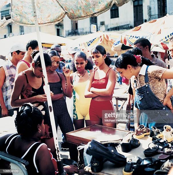 Young women in market in havana.