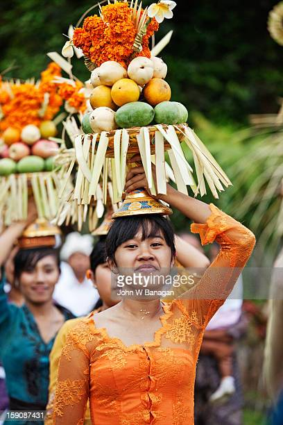 Young women in Temple procession, Bali, Indonesia