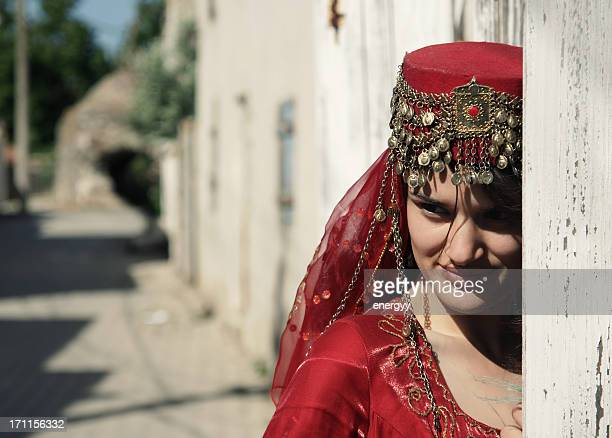 young women in traditional wedding dress
