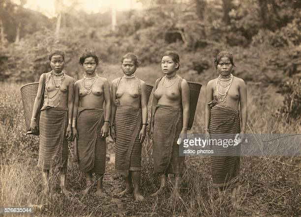 Young women of a tribe of the Degar or Montagnard peoples during the period of French colonization of Indochina circa 1910