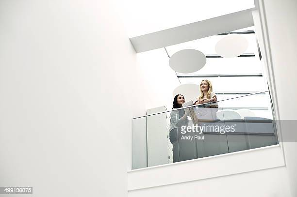 Young women on balcony, low angle