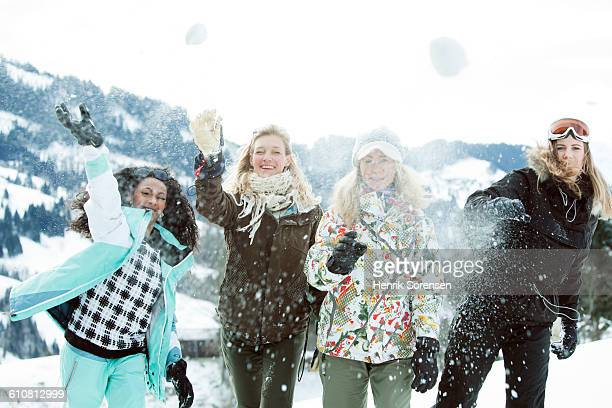 young women on winter holiday - ski pants stock pictures, royalty-free photos & images