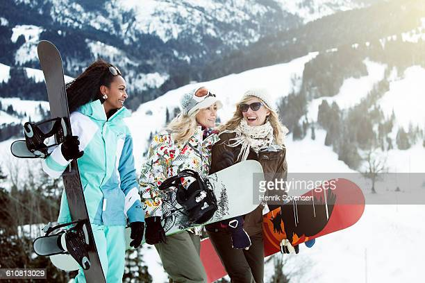 young women on winter holiday