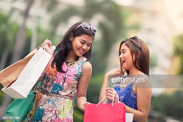 Young women out shopping