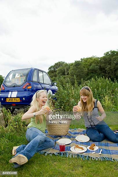 Young women pick-nicking by electric car