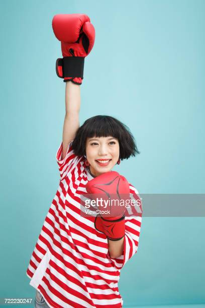young women practice boxing - funny boxing stock photos and pictures
