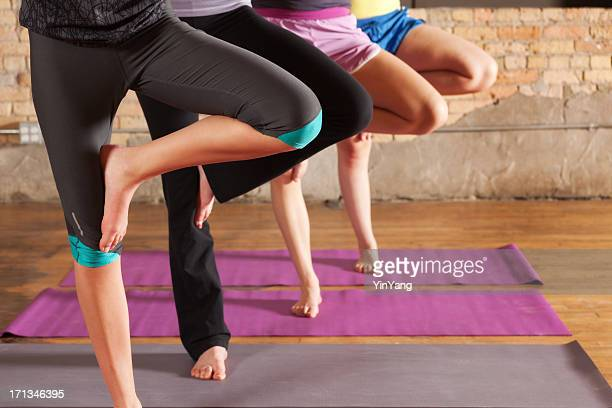 Young Women Practicing Tree Pose in Group Workout Yoga Class