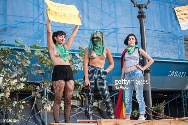 Young women protesters in Buenos Aires Argentina on 8 March 2018 during the Second strike of women in Argentina The main slogans were among others...
