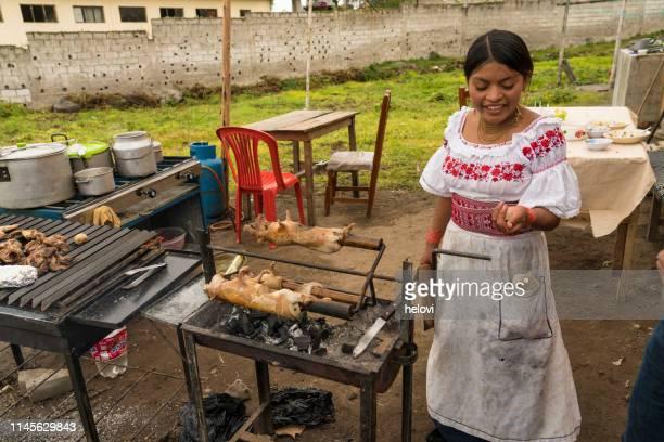 las mujeres jóvenes que tostan cobayas en barbacoa - cultura peruana fotografías e imágenes de stock