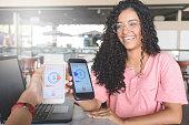 Young women sending money through digital wallet, using wireless technology