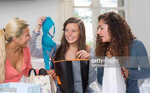 Young women show shopping spree at home
