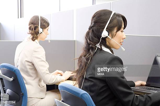 Young women working in call center
