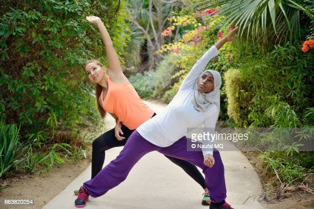 Young women working out in outdoor