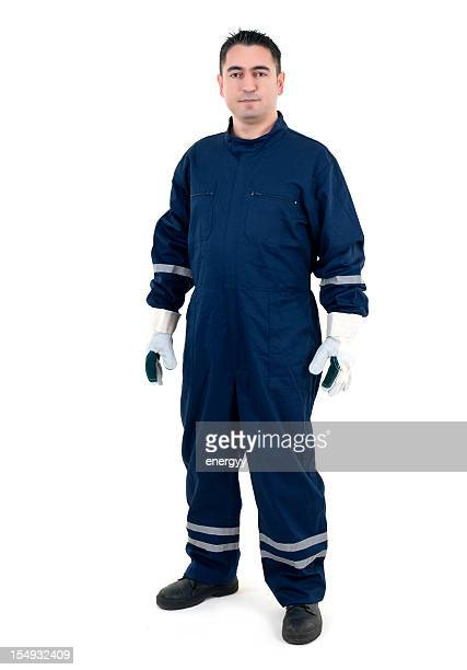 young worker on white background