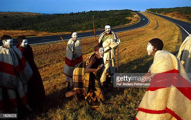Young Xhosa boys practice traditional stickfighting during a manhood ritual by the N2 highway July 9 2001in Mdantsane Eastern Cape Province South...