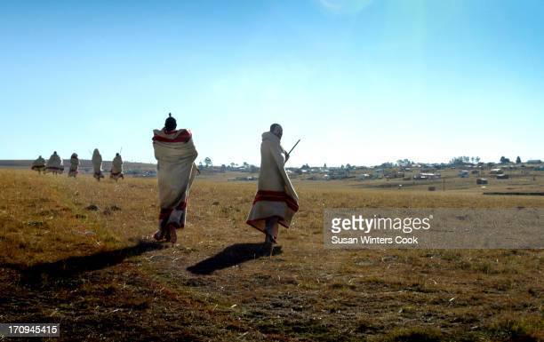 Young Xhosa men undergo the traditional initiation ceremony or 'Abakwetha' near Qunu Nelson Mandela's childhood home They are a common sight during...