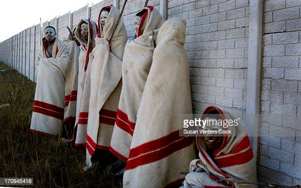 Young Xhosa men undergo the traditional initiation ceremony or 'Abakwetha' near Qunu, Nelson Mandela's childhood home. They are a common sight during...