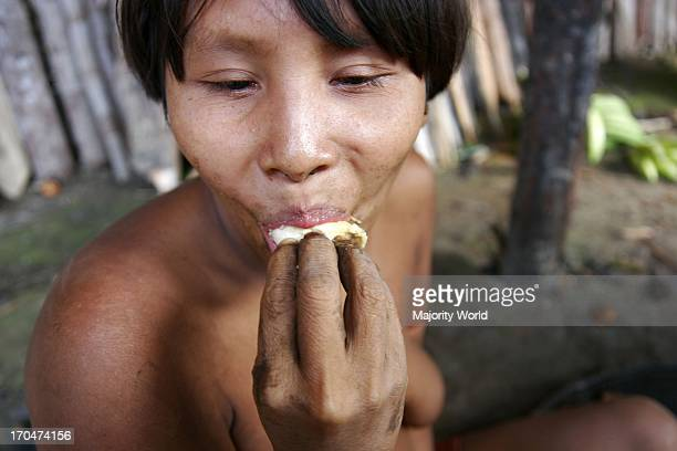 A young Yanomami girl eating 'abiu' a common jungle fruit Considered the Native Americans of South America the forestdwelling tribe live in the...