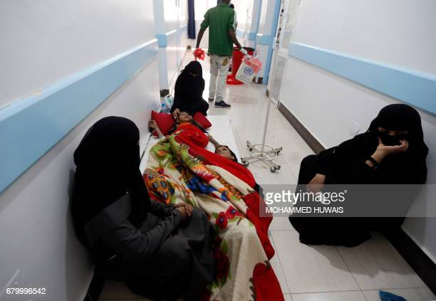 Young Yemenis suspected of being infected with cholera receive treatment at a hospital in Sanaa on May 6 2017 At least 570 suspected cases of cholera...