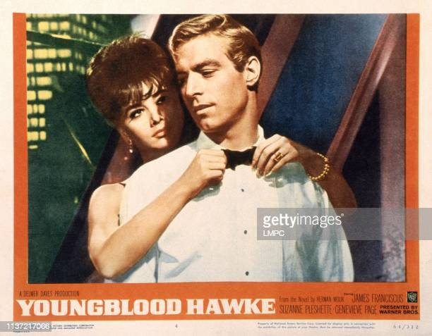 Youngblood Hawke US lobbycard from left Suzanne Pleshette James Franciscus 1964