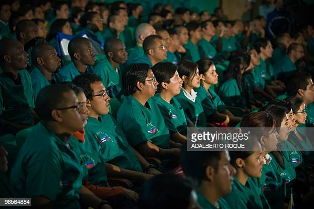 Younger doctors from 24 countries participate in a preparatory meeting at the Latin American School of Medicine in Havana on February 10 before...