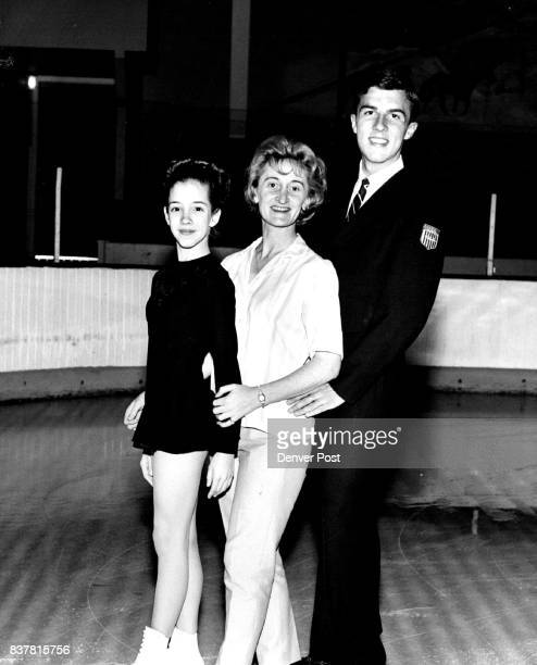 Youngest Gold Test Skater Twelveyearold Kathleen West shown with professional coach Jean Westwood and US and North American ice dance champion John...