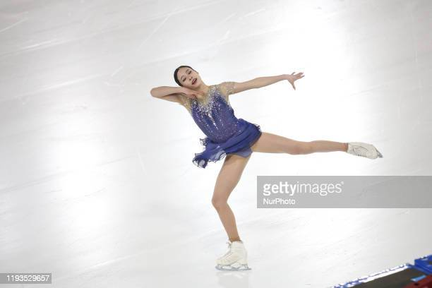 Youngfrom Koreacompetes inWomen Single Skating - Free Skatingduring 4 day ofWinter Youth Olympic Games Lausanne 2020 in Skating Arena in...