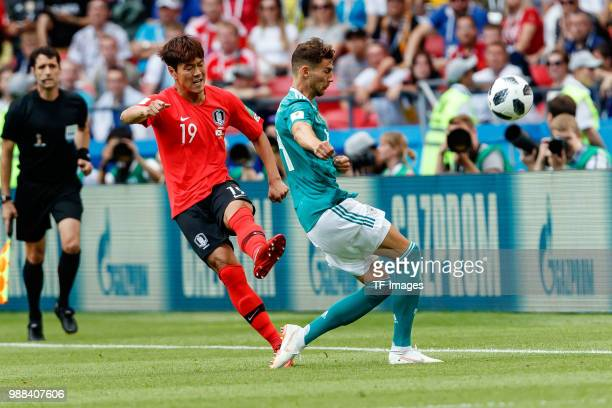 Younggwon Kim of Korea Republic and Leon Goretzka of Germany battle for the ball during the 2018 FIFA World Cup Russia group F match between Korea...