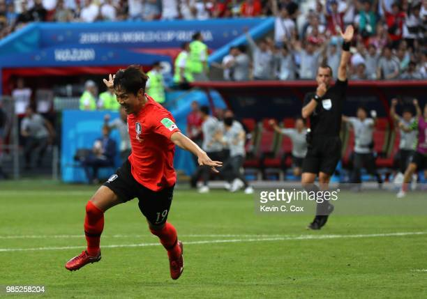 Younggwon Kim of Korea Republic celebrates after scoring his team's first goal during the 2018 FIFA World Cup Russia group F match between Korea...