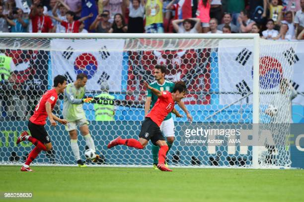 Younggwon Kim of Korea Republic celebrates scoring a goal to make it 10 during the 2018 FIFA World Cup Russia group F match between Korea Republic...