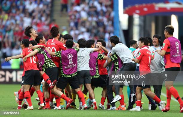 Younggwon Kim of Korea Republic celebrates with teammates after scoring his team's first goal during the 2018 FIFA World Cup Russia group F match...