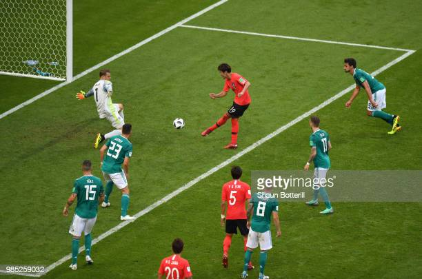 Younggwon Kim of Korea Republic scores his team's first goal during the 2018 FIFA World Cup Russia group F match between Korea Republic and Germany...