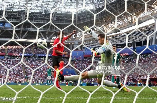 Younggwon Kim of Korea Republic scores his team's first goal past Manuel Neuer of Germany during the 2018 FIFA World Cup Russia group F match between...