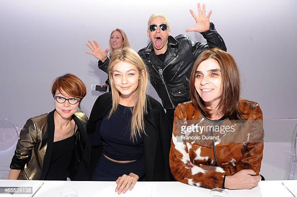Younghee Lee, Gigi Hadid, Jared Leto and Carine Roitfeld attend the Paris Fashion Week Tasting Night with Galaxy featuring Brad Goreski, model...