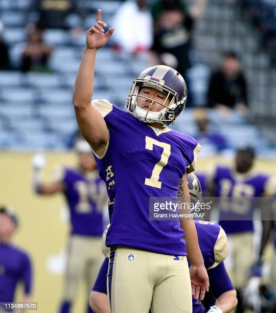 Younghoe Koo of Atlanta Legends celebrates his gamewinning field goal with 9 seconds left in the game against the Memphis Express during the second...