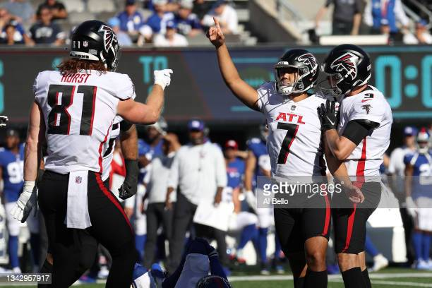 Younghoe Koo of the Atlanta Falcons celebrates a field goal during the fourth quarter in the game against New York Giants at MetLife Stadium on...