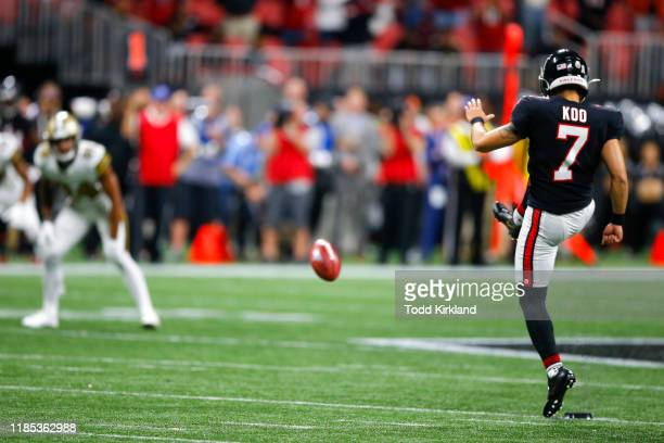 Younghoe Koo of the Atlanta Falcons kicks an onside kick during the second half of an NFL game against the New Orleans Saints at MercedesBenz Stadium...