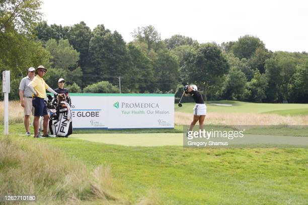 Youngin Chun of South Korea plays a shot from the 18th tee during a practice round prior to the LPGA Drive On Championship at Inverness Club on July...