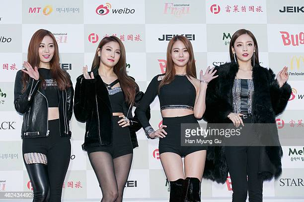 Youngji Gyuri Seungyeon and Hara of South Korean girl group KARA attend the 4th Gaon Chart KPop Awards on January 28 2015 in Seoul South Korea