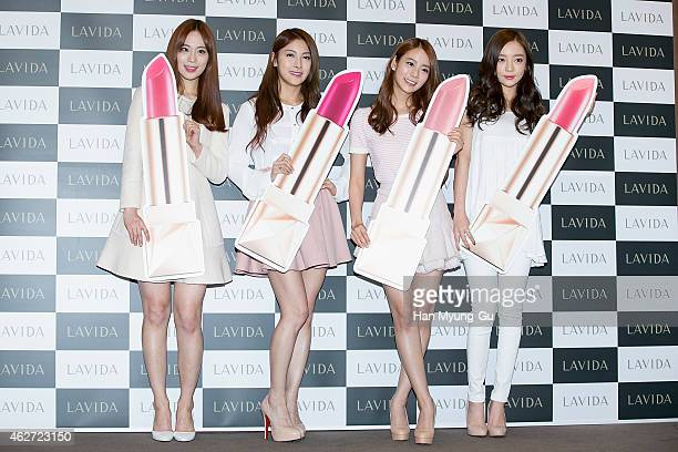 Youngji Gyuri Seungyeon and Hara of South Korean girl group KARA attend the launch event for Coreana Lavida Luminous Solution on February 3 2015 in...