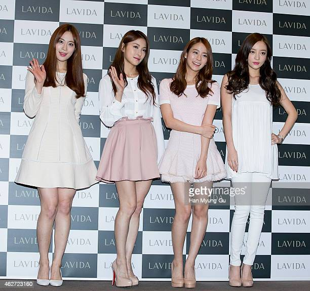 Youngji Gyuri Seungyeon and Hara of South Korean girl group KARA attend the launch event for Coreana 'Lavida' Luminous Solution on February 3 2015 in...