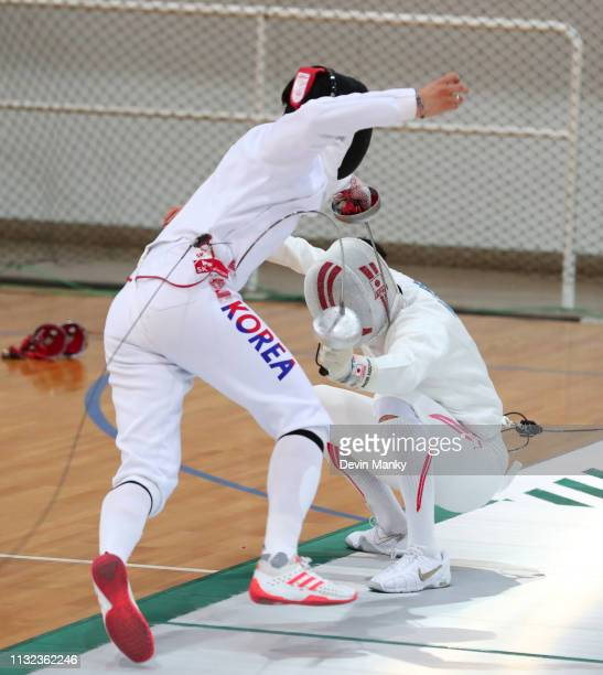 Youngmo Gu of Korea fences Kazuyasu Minobe of Japan during finals competition at the Men's Epee World Cup on March 23 2019 at the Centro Nacional De...