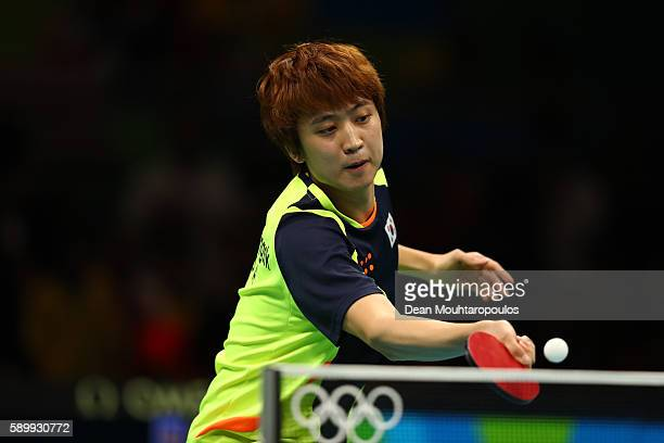 Youngsik Jeoung of Korea in action against Jike Zhang of China during the Men's Team Semifinal Badminton on Day 10 of the Rio 2016 Olympic Games at...