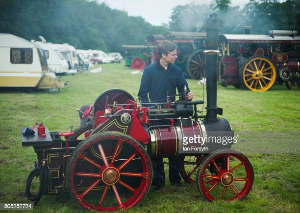 A youngster prepares his miniature steam engine during the Duncombe Park Steam Rally on July 1 2017 in Helmsley United Kingdom Held annually in the...